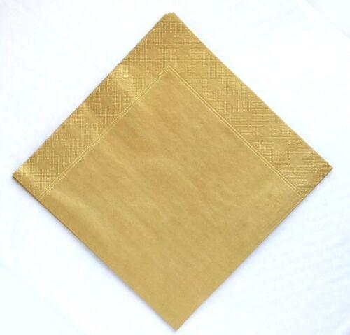 Or Métallique 3 plis Dîner Serviettes 40 cm Pack De Mariage 50 in environ 127.00 cm Fête Anniversaire