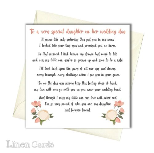 Daughter on her Wedding Day Card Daughter On Your Wedding Day Card Daughter Card