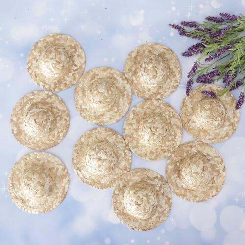 10pcs Straw Bowler Doll Hat Cap For Salon Blythe Doll Clothing Accessory #3