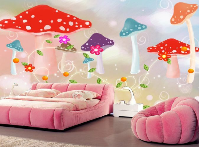 3D Dream Farbe Mushroom Leaf Wall Paper Wall Print Decal Wall Deco AJ WALLPAPER