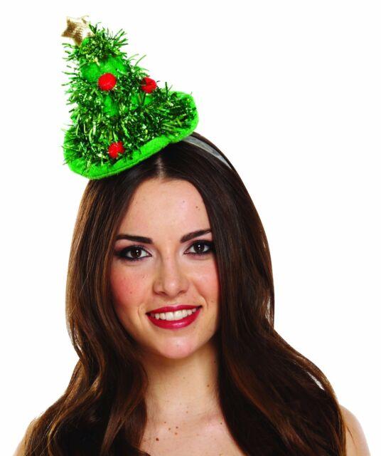 CHRISTMAS TINSEL TREE MINI HAT HEADBAND PARTY DRESS XMAS HEAD BOPPER FUN  NOVELTY 80eaeace99c