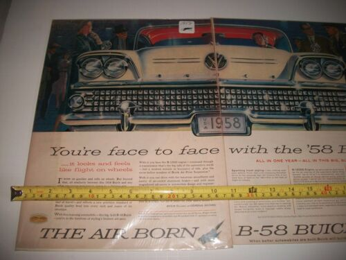 "1958 BUICK ORIGINAL  2 PAGE PRINT AD  ART COLLECTIBLE  /""THE AIR BORN B-58 BUICK/"""