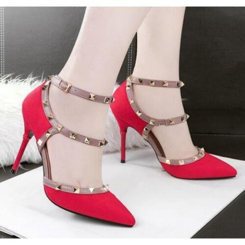 Donna Rosso Cm Stiletto Cw645 Eleganti Sandali 10 Simil Decolte Borchie Pelle 5qZYC7