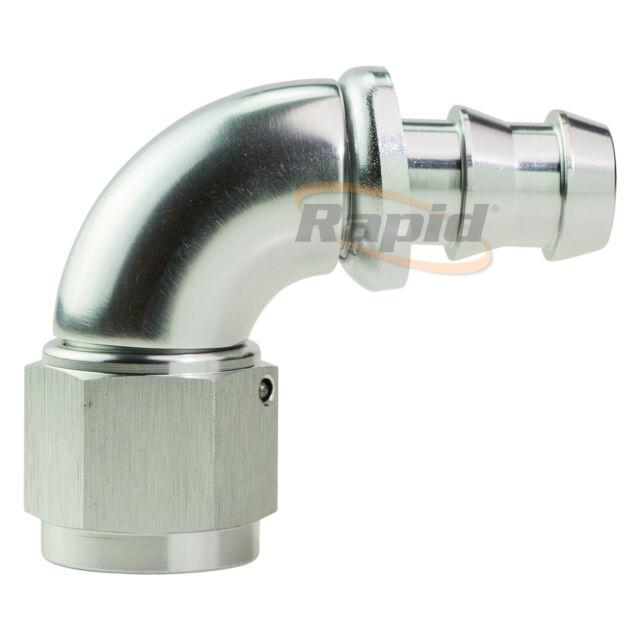 Aeroflow 510 Series Full Flow Tight Radius Push Lock 90° Hose End -8AN Silver