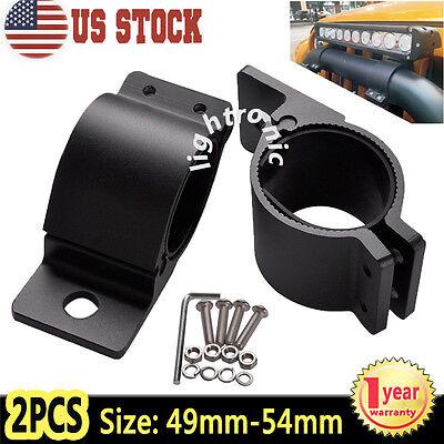 """2x 2"""" 49-54mm Bull Bar Roof Roll Cage Tube Mount Bracket Clamp LED Light Holder"""