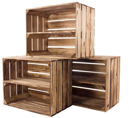 geflammte Apfelkiste mit Zwischenbrett Regal Holzregal Obstkiste Kiste 3,9
