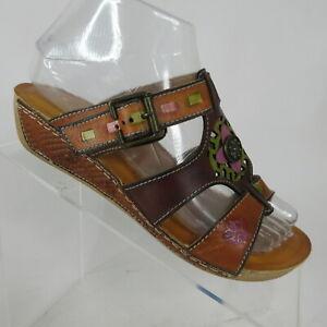 L-039-Artiste-Spring-Step-Gaiton-Cam-Hand-Painted-Wedge-Slide-Sandal-Womens-US-6-5-7