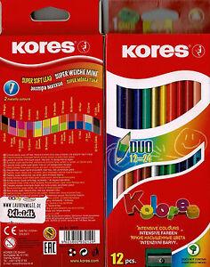 Duo-Buntstifte-von-KORES-12-Stifte-mit-24-Farben-inkl-Gold-und-Silber-metallic