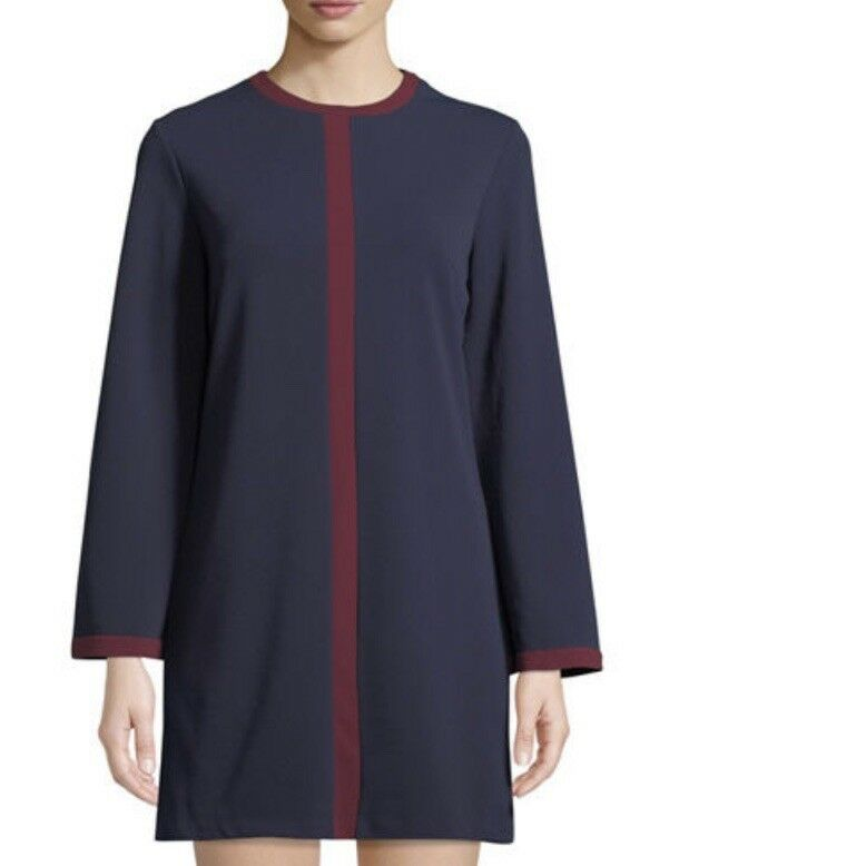 Alexia Admor Flare-Sleeve Contrast-Seam Shift Dress XS Retail  199