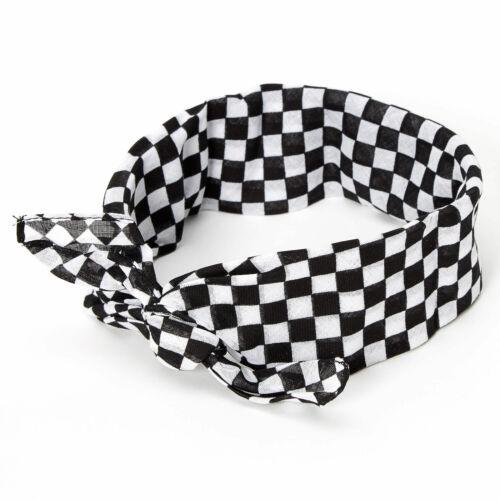 Claire/'s Girl/'s Black /& White Checkered Bandana Headwrap Black//White