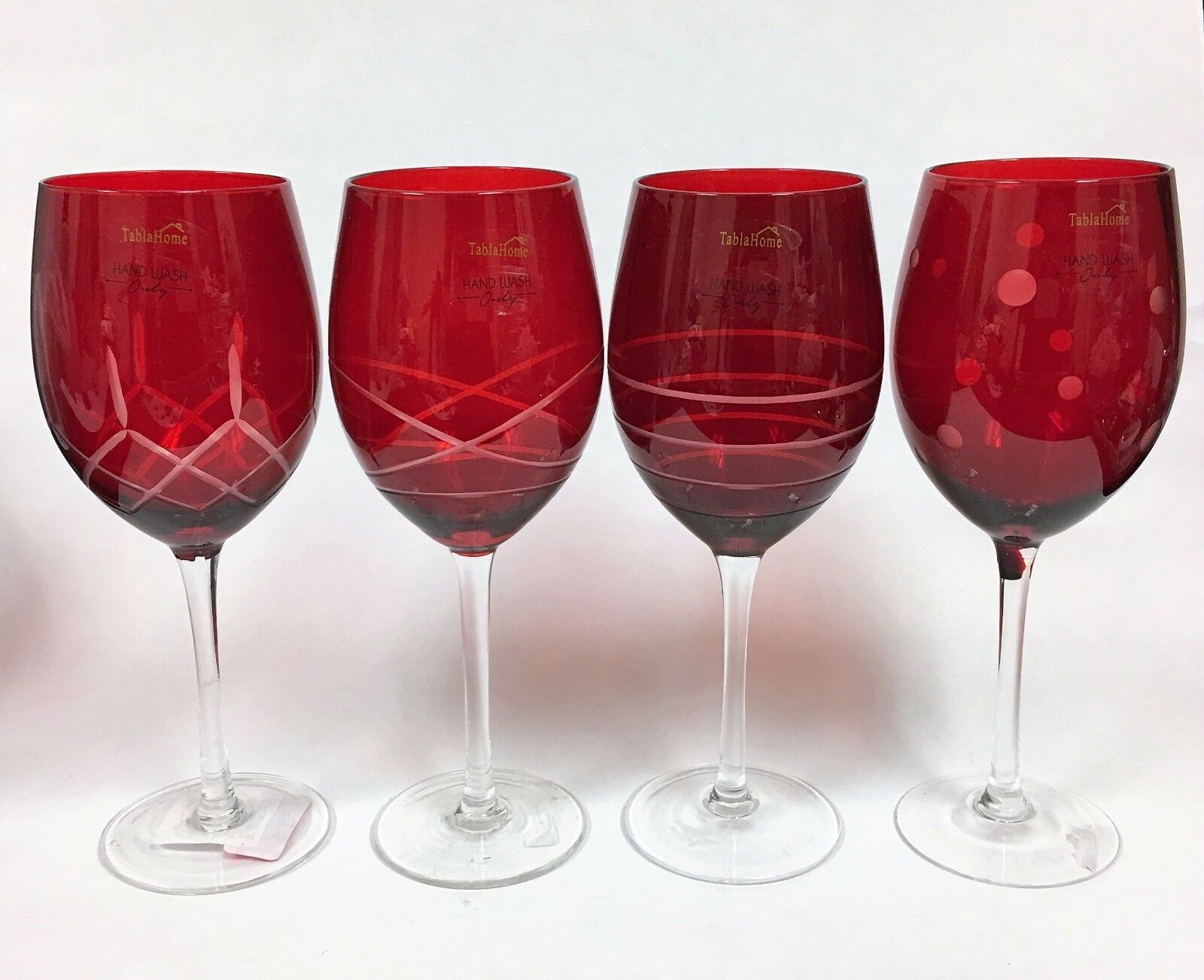 NEW TABLAHOME SET OF 4 RED DIFFERENT PATTERN ALL PURPOSE TALL WINE,GOBLET GLASS