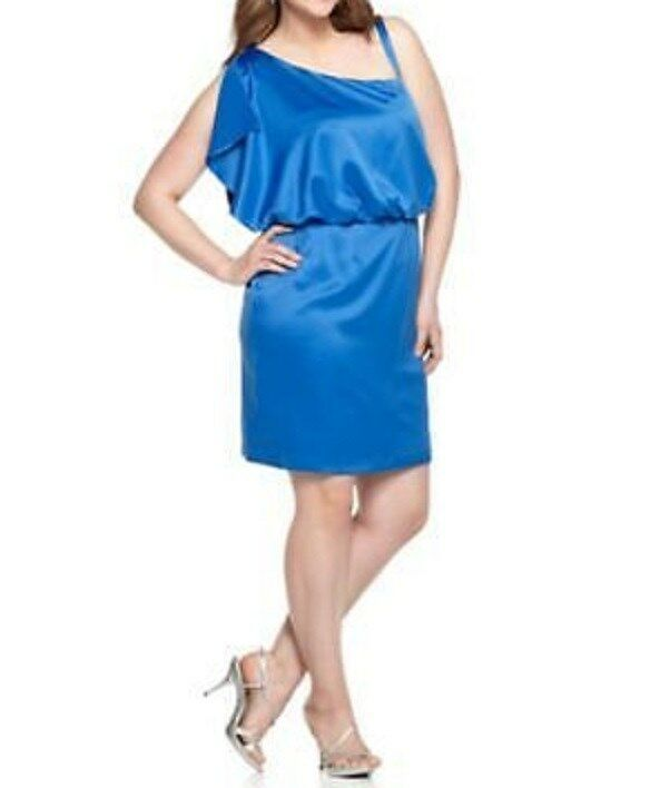 "Jessica Simpson Robe Taille 8 Bleu Roi "" Turque Mer "" une Épaule"