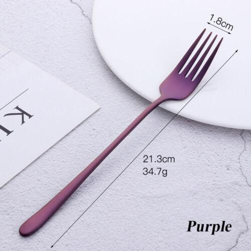 Acier Inoxydable Dîner Fourchette Corée Coloré dessert poignée longue Parti Home