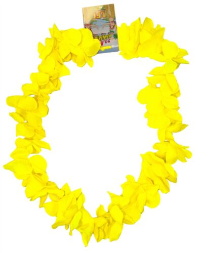 Neon Yellow Hawaiian Leis Hawaii Neck Garland Hula Girl Fancy Dress
