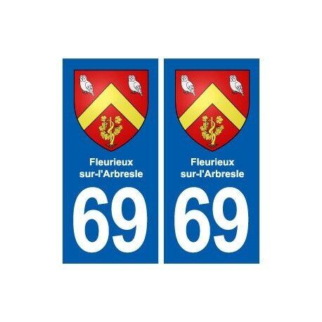 69 Fleurieux-sur-l'Arbresle blason autocollant plaque stickers ville arrondis