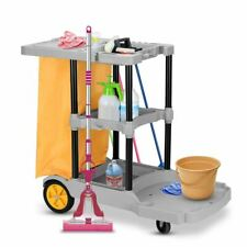 Durable Commercial Janitorial Cleaning Cart 3 Shelf Housekeeping Ultility Cart