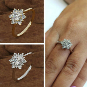 1PC-Natural-Stone-Simple-Snowflake-Rings-White-Topaz-Women-039-s-Party-Ring-Jewelry
