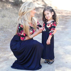 ef1d7c0d46d55 Mom&Daughter Matching Long Dress Women&Kids Baby Girl Floral Daliy ...