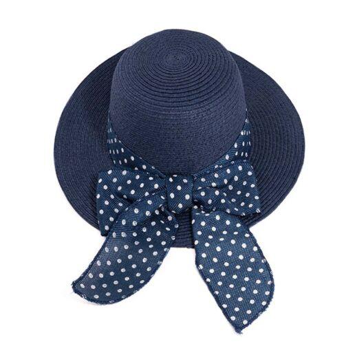 Ladies Packable Sun Hat  Braided Straw Size Adjustable Spotty Band Big Brim UPF