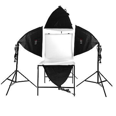 Life of Photo Fotostudio LED Dauerlicht Set Softbox + Aufnahmetisch