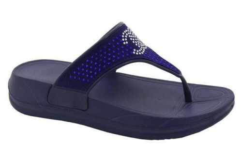 girls toe post sandals comfort soft insole diamante trim sizes 10-2