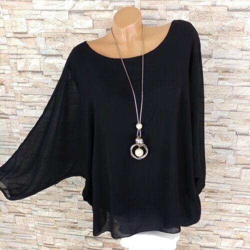 Made in italy chifón túnica camisa envejecido murciélago-manga negro 36-44