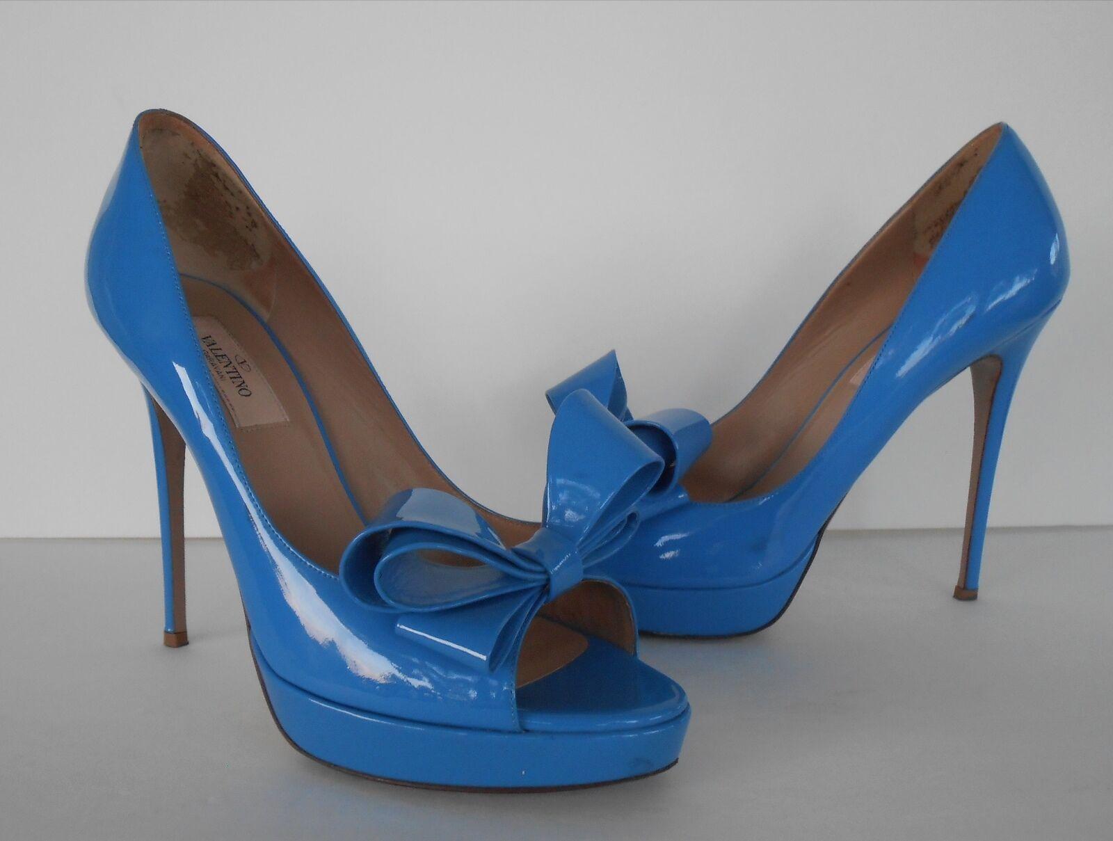 Valentino 'Couture' Patent Patent Patent Leather Platform Pump bluee Sz 39 8b91c9