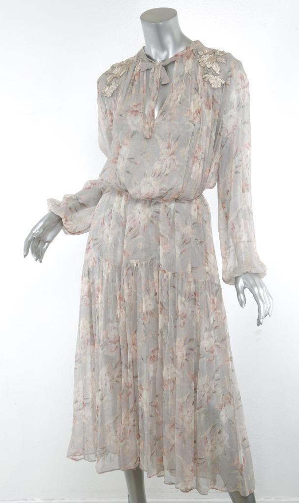 Zimmermann Blaumen Pastell Gestrandet Girlande Fließend Abgestuft Langes Kleid