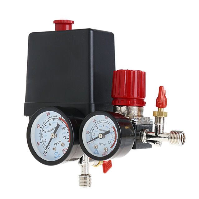 120PSI New Air Compressor Pressure Valve Switch Manifold Relief Regulator Gauges