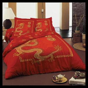 Copripiumino Etnico.Copripiumino Singolo 155x200 100 Cotone Rosso Drago Etnico