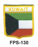2-1/2'' X 2-3/4 Kuwait Flag Embroidered Shield Patch - Officially Licensed