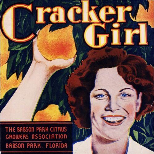 Babson Park Florida Cracker Girl #3 Orange Citrus Fruit Crate Label Art Print