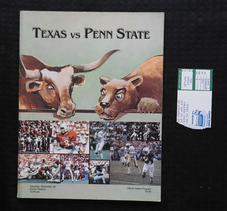 Septembre 29 1984 Penn State Lions contre Texas Longhorn Football Programme +
