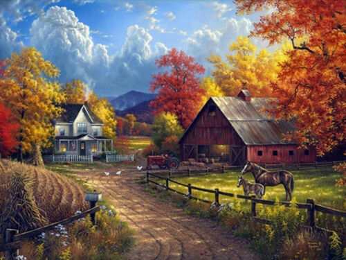 5D DIY Full Drill Diamond Painting Rural Scenery Embroidery Cross Stitch Kits