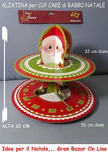 NATALE ALZATINA CUP CAKE 2 PIANI 32-36 cm diam Alta 32 cm ...
