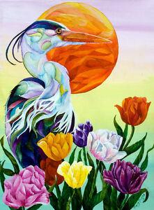 HERON-with-TULIPS-8X10-BIRD-Print-from-Artist-Sherry-Shipley