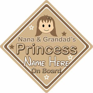 Personalised Child/Baby On Board Car Sign ~ Nana & Grandads Princesses ~ Purple Other Baby Safety Safety