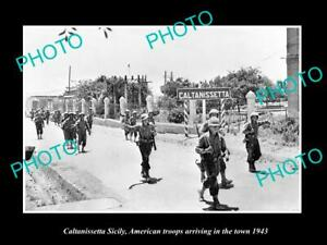 OLD-LARGE-HISTORIC-PHOTO-CALTANISSETTA-SICILY-USA-TROOP-ARRIVING-IN-WWII-1943