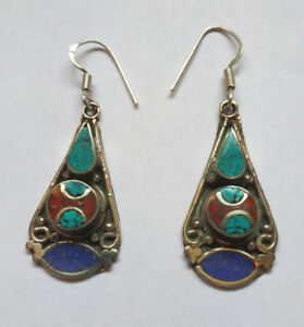 Asian-sterling-silver-earrings-Tibetan-Turquoise-and-coral-Lapis-jewelry-E7