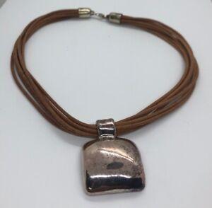 Vintage-Sterling-Silver-Necklace-925-Leather-Signed-Pendant-Designer-16
