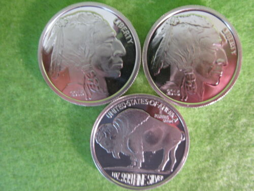 SILVER BUFFALO ROUND  LOT OF THREE COINS 2015 1 OZ