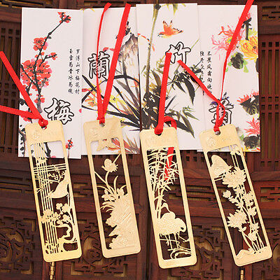 4pcs Chinese Traditional Metal Bookmark Note Memo Clip Paper Marker 9.2*2.3cm