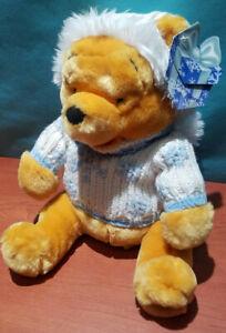 "NWT Disney Store Winter Pooh 12"" Plush Knit Blue Snowflake Sweater & Hat Fur Pom"