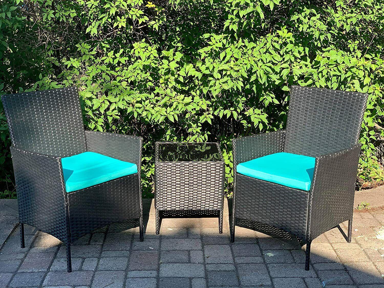Garden Furniture - 3pcs Wicker Rattan Patio Outdoor Furniture Conversation Sofa Bistro Set Garden