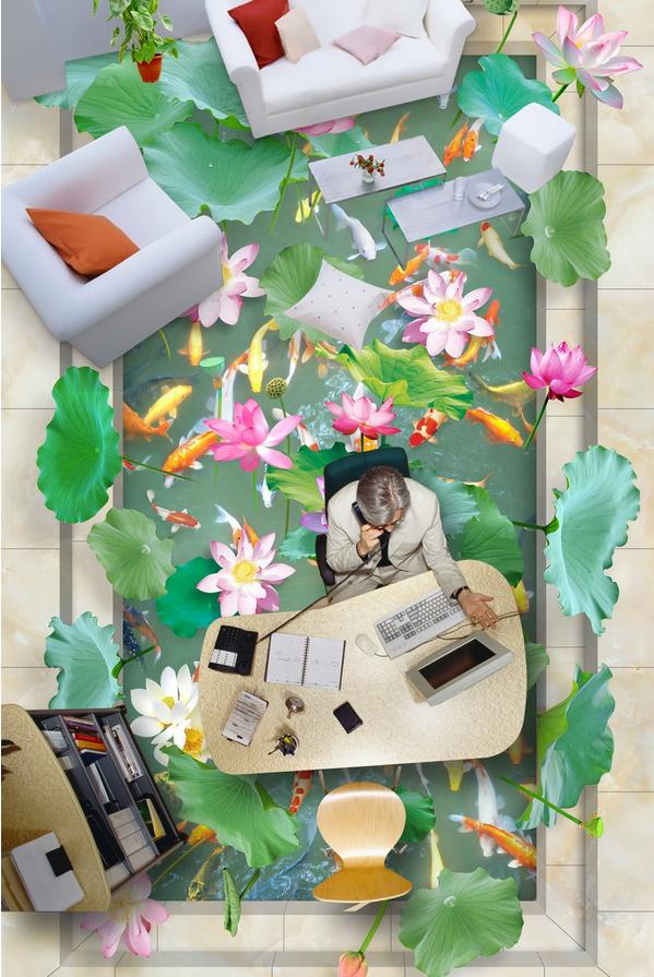 3D Pond water leaf 012 Floor WallPaper Murals Wall Print Decal 5D AJ WALLPAPER