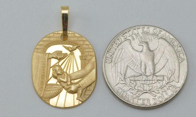18K solid gold Baptism charm / pendant