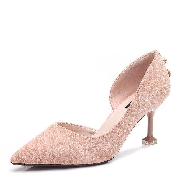 pumps frau 8 cm elegant stilett elegant rosa wildleder simil leder 9681