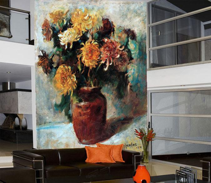 3D Chrysantheme Vase 73 Tapete Wandgemälde Tapete Tapeten Bild Familie DE Summer