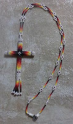 Native American Cut Glass Beaded CROSS Necklace White Flowers Kiowa Hand Made
