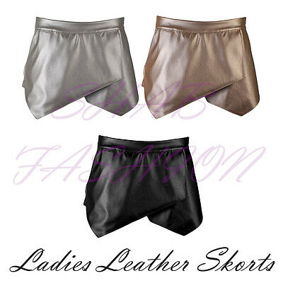 Konstruktiv Ladies/womens Leather Asymmetric Hem Skirt/shorts/skorts Dauerhafte Modellierung
